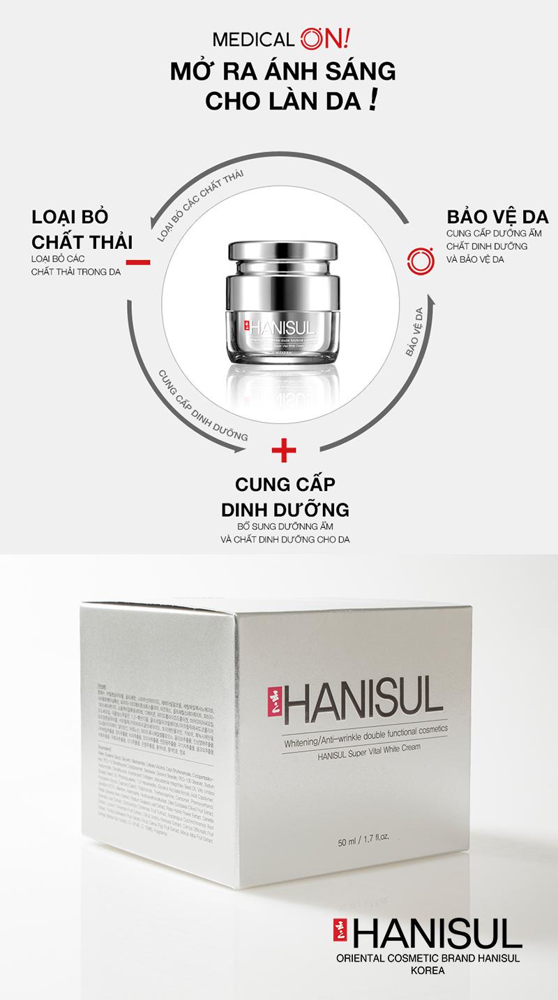Mỹ phẩm Hanisul Super Vital White Cream cao cấp được MedicalO chứng nhận có nguồn gốc tự nhiên an toàn và đạt công dụng hiệu quả sau khi sử dụng