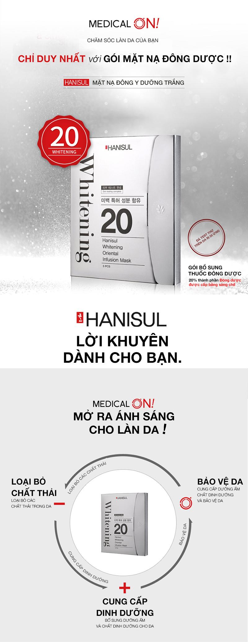 Chăm sóc da với mặt nạ Đông y dưỡng trắng Hanisul Whitening Oriental Infusion Mask đúng cách đem lại hiệu quả dưỡng trắng và đặc trị các vấn đề về da cao hơn so với các loại mặt nạ thông thường